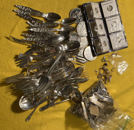 silver coins flatware jewelry